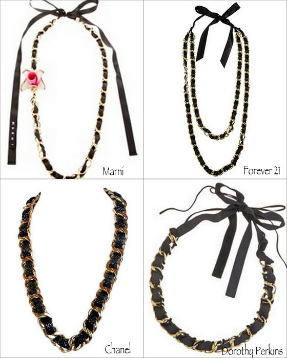 DIY designer inspired ribbon and chain necklace in 4 easy steps 01