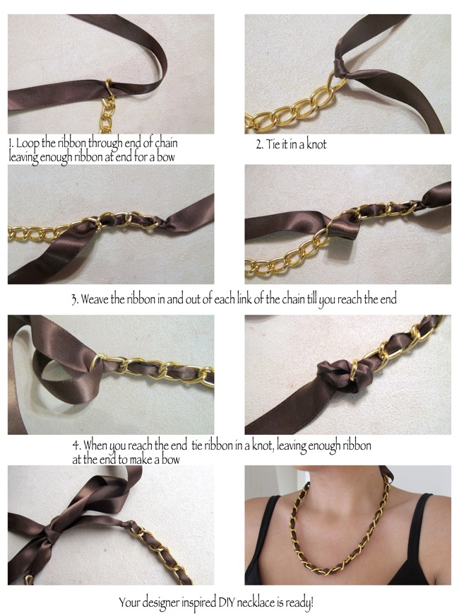 DIY designer inspired ribbon and chain necklace in 4 easy steps 03