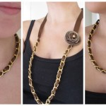 Designer inspired ribbon and chain necklace in 4 easy steps