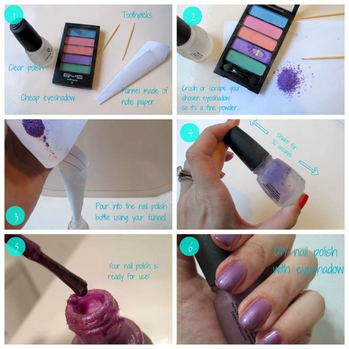 DIY your own nailpolish with eyeshadow