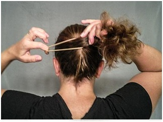 Create a ponytail at the back of the head